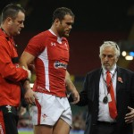 Wales v Argentina - Jamie Roberts of Wales leaves the field with team doctor Geoff Davies and Professor John Williams