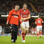 Wales v Argentina - Alun Wyn Jones of Wales leaves the field with team doctor Geoff Davies