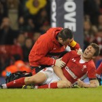 Wales v Samoa -Dan Biggar of Wales is treated by Dr Geoff Davies
